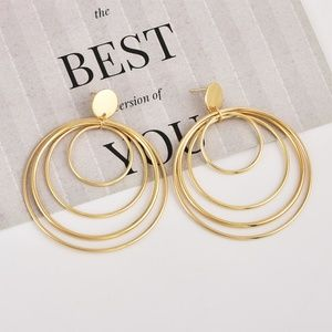 *SHIVANI* Gold Round Layer Fashion Dangle Earrings